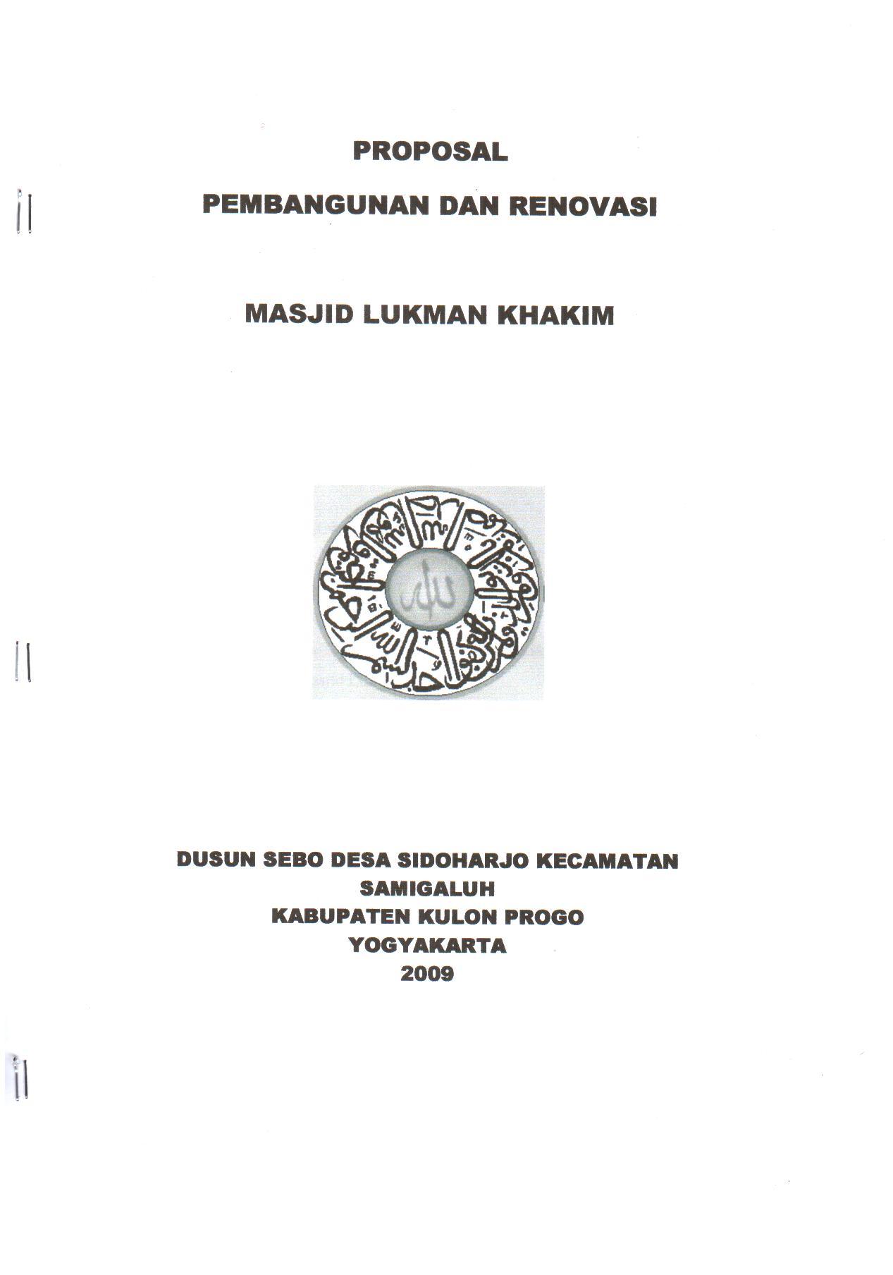 Cover Proposal Pembangunan Dan Renovasi Masjid Lukman Khakim