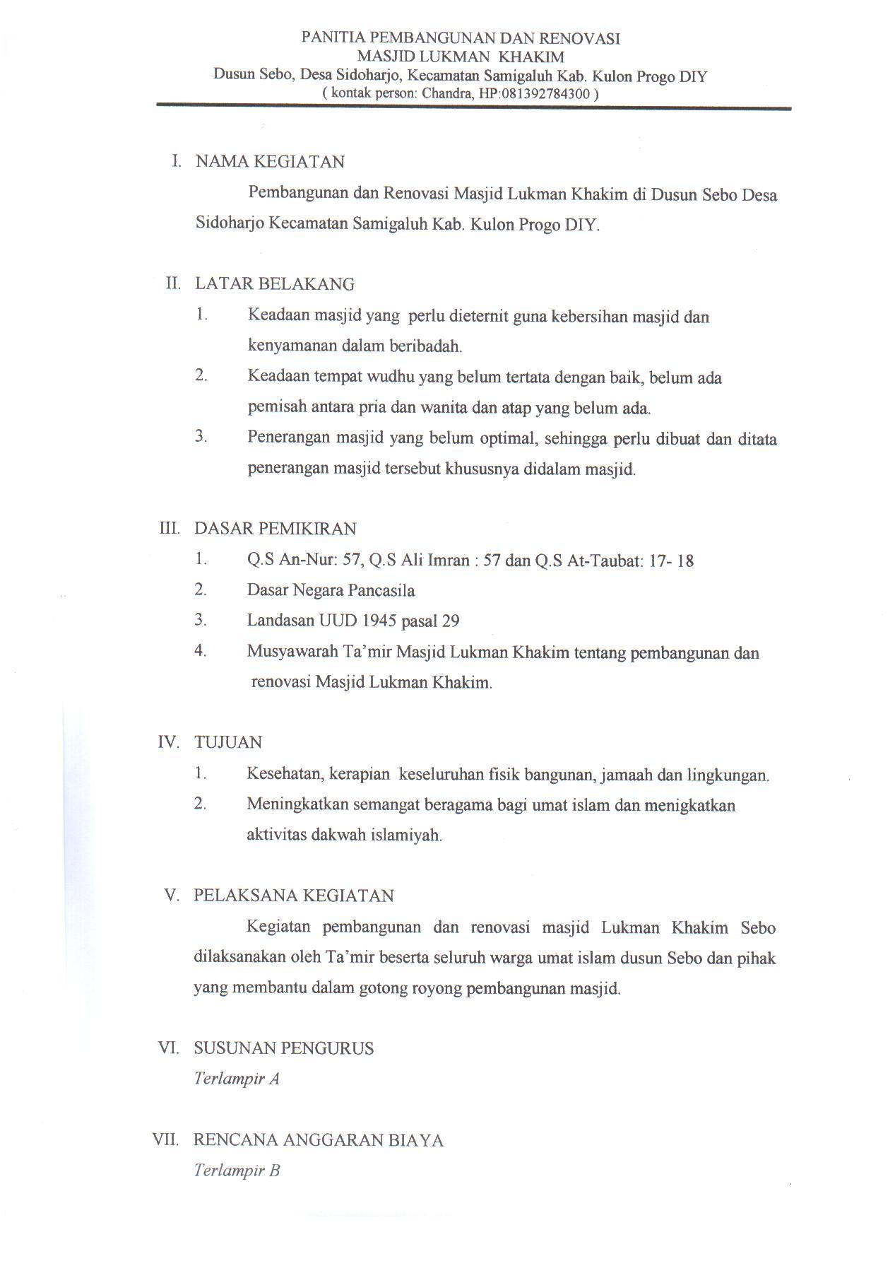 Proposal Pembangunan dan Renovasi Masjid Lukman Khakim