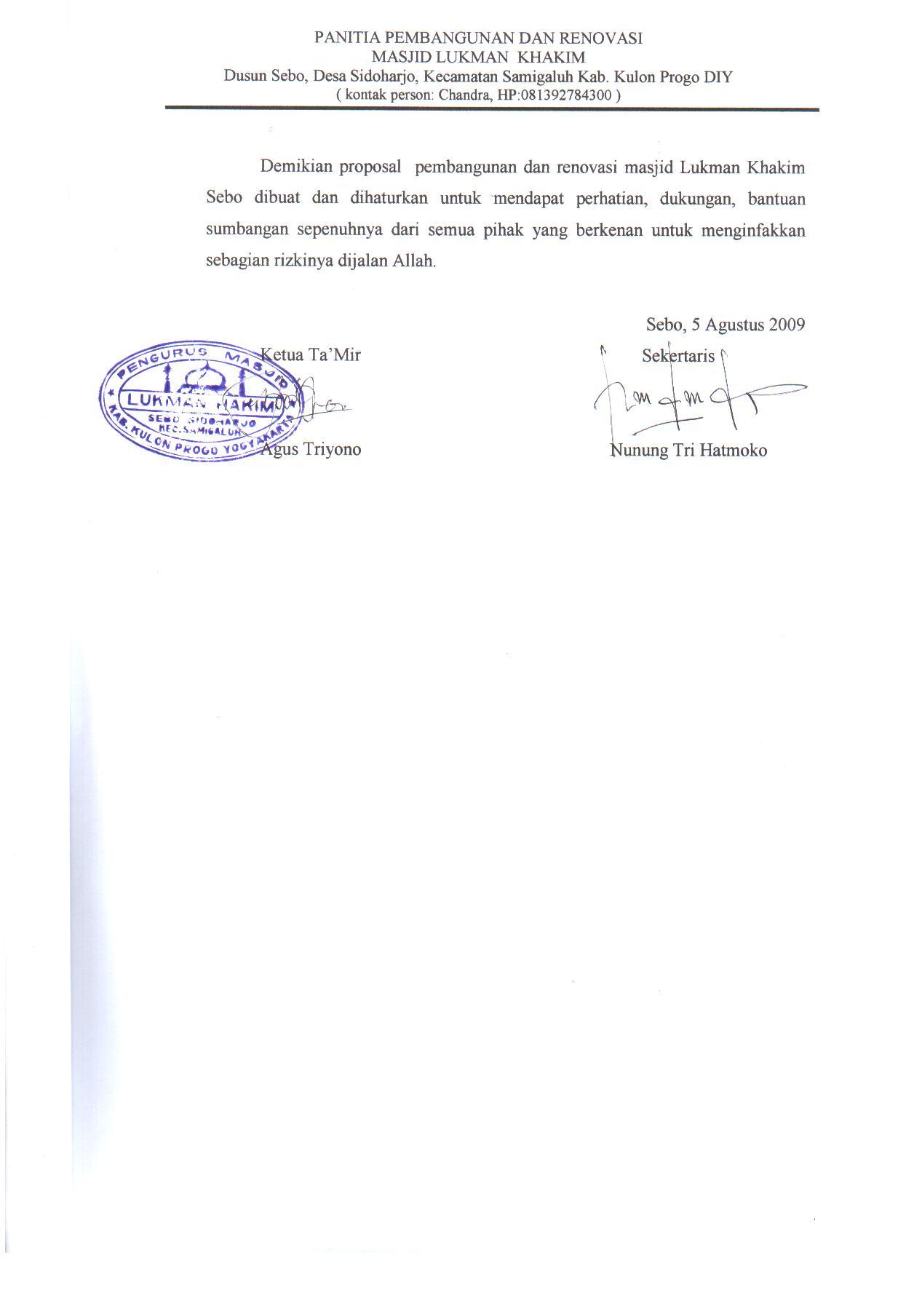 Penutup Proposal Pembangunan dan Renovasi Masjid Lukman Khakim