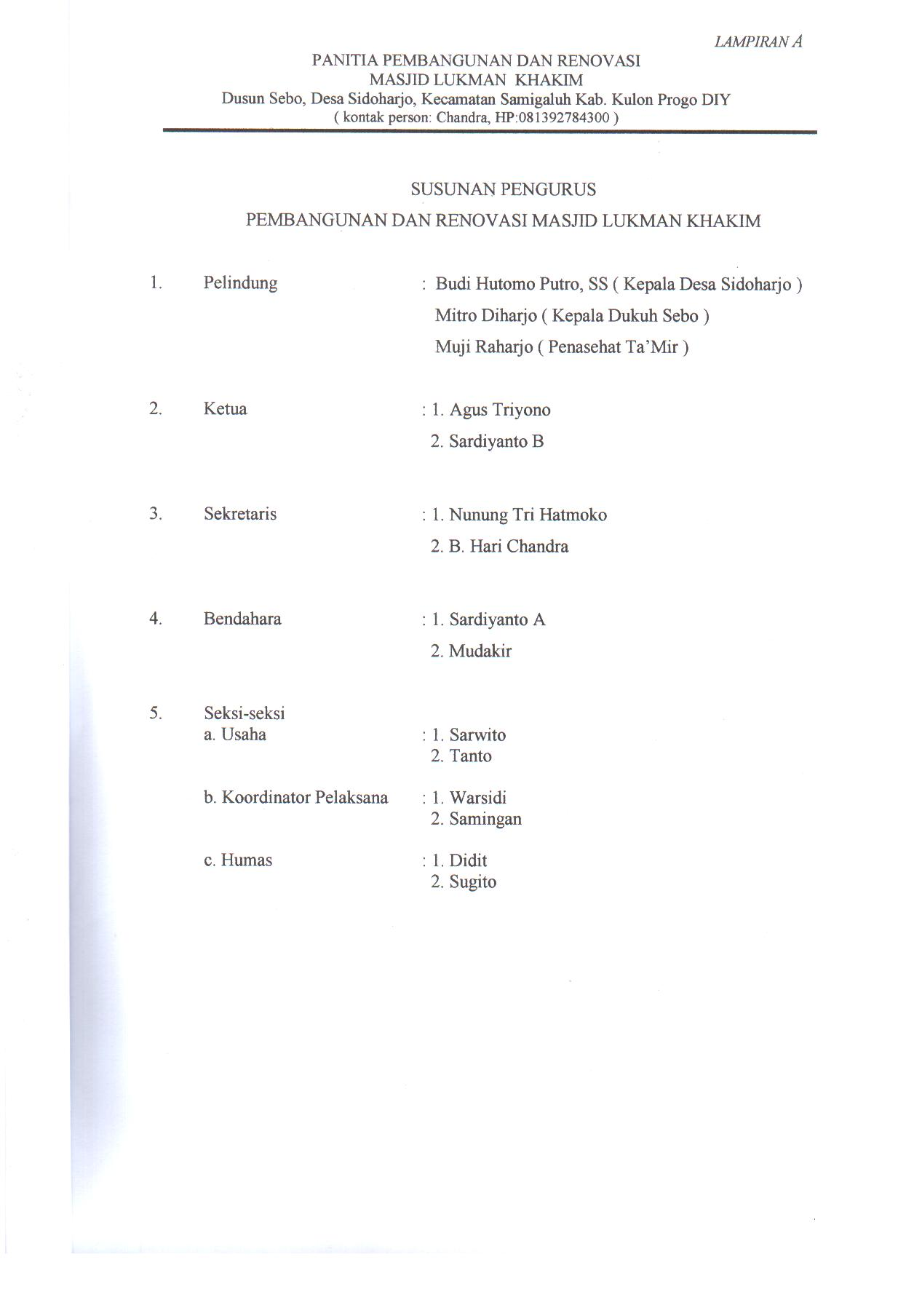 Susunan Pengurus Panitia Pembangunan dan Renovasi Masjid Lukman Khakim